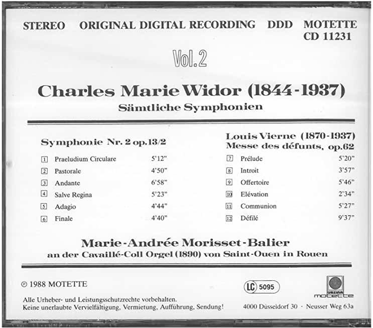 Orgelsinfonie 2 op.13/ - MORISSET-BALIER MARIE-ANDRÉE [CD]